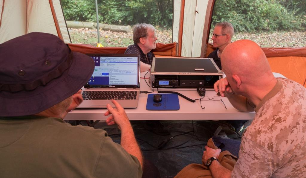 View of station showing laptop on left and HF radio on right